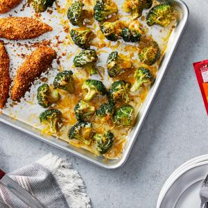 Sheet Pan Taco Chicken Fingers With Cheesy Roasted Broccoli - McCormick®